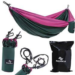 Camping Hammock – Double Hammock – Portable Hammock – Best Outdoor Travel Hiking Patio Beach Ham ...