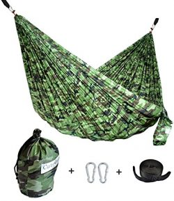 CUTEQUEEN TRADING Single Nest Parachute Nylon Fabric Hammock With Tree straps;Color: Camouflage