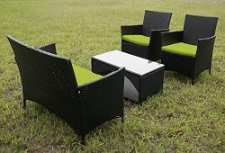 Merax 4 PCS Cushioned Outdoor PE Wicker Patio Set Garden Lawn Rattan Sofa Furniture Conversation ...