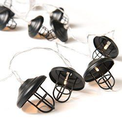 Ling's Moment 5.5Ft Matte Black Boho LED Bedroom Fairy Lights Battery Powered Metal Cage S ...