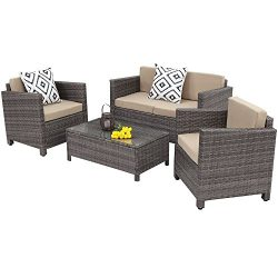 Outdoor Patio Furniture Set,Wisteria Lane 4 Piece Rattan Wicker Sofa Cushioned with Coffee Table ...