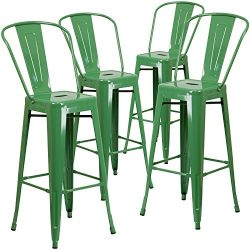 "Flash Furniture 4 Pk. 30"" High Green Metal Indoor-Outdoor Barstool with Back"