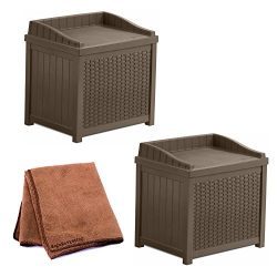 Suncast Resin 22-Gallon Outdoor Storage Bench Seat in Mocha Brown, Set of 2 with Cleaning Cloth