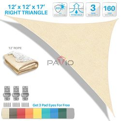 Patio Paradise 12'x12'x17′ Beige Sun Shade Sail Right Triangle Canopy –  ...