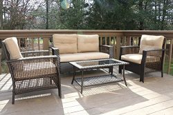 Oliver Smith – Large 4 Pc High Back Rattan Wiker Sofa Set Outdoor Patio Furniture –  ...
