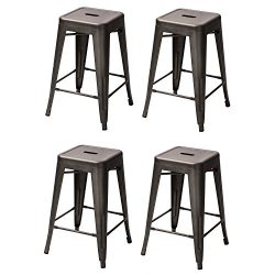 Adeco 24-inch Metal Tolix Industrial Chic Chair bar Counter Barstool, Set of 4 (Dark Bronze)