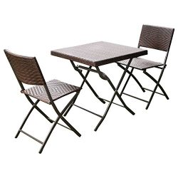 Giantex 3 PC Outdoor Folding Table Chair Furniture Set Rattan Wicker Bistro Patio Brown