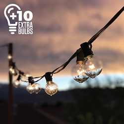 50ft Black String Lights w/ 60 G40 Globe Bulbs (10 Extra); Connectable, Waterproof, Indoor/Outdo ...