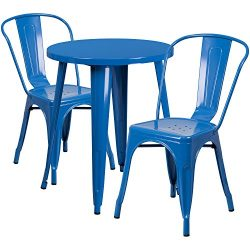 """Flash Furniture 24"""" Round Blue Metal Indoor-Outdoor Table Set with 2 Cafe Chairs"""