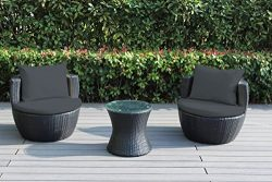 Ohana 3-Piece Outdoor Wicker Patio Conversation Set with Weather Resistant Cushions (Dark Gray)