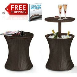 Wicker Cooler Table Outdoor Cool Bar Patio Coffee Table Garden Drinks Poolside Lawn And Garden B ...