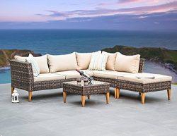 Outdoor Patio Furniture Wicker Sectional Sofa 5-seater All Weather Deep-Seating Set, Khaki Cushi ...