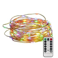 100 LED Copper Wire Starry String Lights with 8 Modes Remote Control 3AA Battery Operated, 33 Fe ...