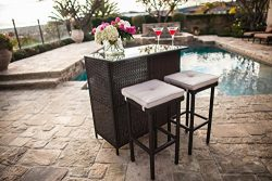 Suncrown Outdoor 3-Piece Brown Wicker Bar Set: Glass Bar and Two Stools with Cushions – Pe ...