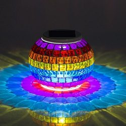Solar Powered Mosaic Glass, MerryNine Solar Table Lamp Color Changing Glass LED Rechargeable Sol ...