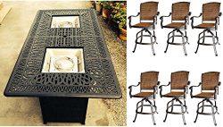 7 Piece Fire Pit Patio Dining Outdoor Bar Set Santa Clara Swivels Barstools Propane Table Cast A ...