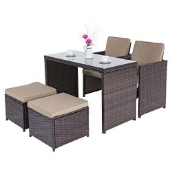 Cloud Mountain Outdoor 5 Piece Rattan Wicker Furniture Bar Set Dining Set Cushioned Patio Furnit ...
