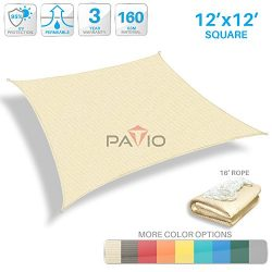 Patio Paradise 12′ x 12′ Tan Beige Sun Shade Sail Square Canopy – Permeable UV ...