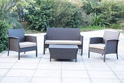 Sunjoy 4PC Wicker Seating Set with Storage Table