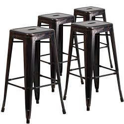 "Flash Furniture 4 Pk. 30"" High Backless Black-Antique Gold Metal Indoor-Outdoor Barstool w ..."