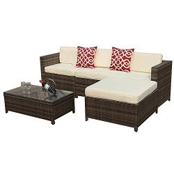 Outdoor Patio Furniture set, 5pc PE Wicker Rattan Sectional Furniture Set with Cream White Seat  ...