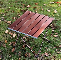 Portable Camping Table, Aluminum Hard-Topped Outdoor Folding Table, Lightweight Picnic Table for ...