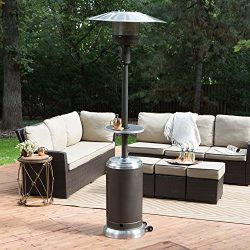 Red Ember Red Ember Mocha & Stainless Steel Commercial Patio Heater with Table, Silver