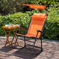 Sundale Outdoor Folding Rocking Lounge Patio Garden Pool Chair with Pillow and Sunshade Canopy,  ...