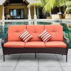 Sundale Outdoor Deluxe Patio Wicker Sofa 3 Seater Luxury Comfort Wicker Couch with Padded Cushio ...