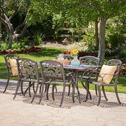 Augusta Outdoor 7 Pc Patina Copper Cast Aluminum Dining Set