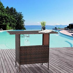 U-MAX Outdoor Rattan Wicker Bar Counter Table Shelves Garden Patio Furniture – Brown