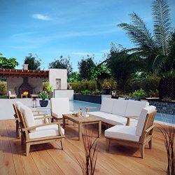 Modway 8-Piece Marina Outdoor Patio Teak Sofa Set, Natural White