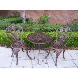 Oakland Living Tulip Cast Aluminum 3-Piece Bistro Set with 26-Inch Table, Antique Bronze