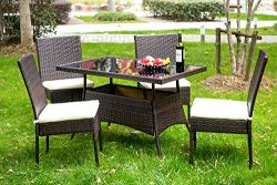 Merax 5 Pieces Indoor Outdoor Dining Set PE Rattan Garden Dining Table and Chairs Patio Set Furn ...