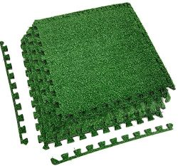 Sorbus Grass Mat Interlocking Floor Tiles – Soft Artificial Grass Carpet – Multipurpose Foam Til ...