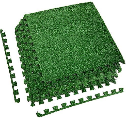 Sorbus grass mat interlocking floor tiles soft for Grass carpet tiles