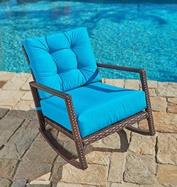Suncrown Outdoor Furniture Teal Patio Rocking Chair | All-Weather Wicker Seat with Thick, Washab ...