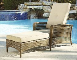 Cosco Outdoor Adjustable Chaise Lounge Chair Lakewood Ranch Steel Woven Wicker Patio Furniture w ...