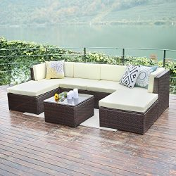 Outdoor patio furniture sets,Wisteria Lane 7 PC Wicker Sofa Set Garden Rattan Sofa Cushioned Sea ...
