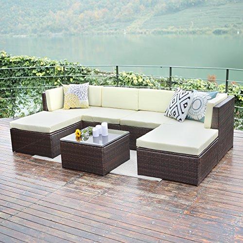 Outdoor patio furniture sets Wisteria Lane 7 PC Wicker Sofa Set