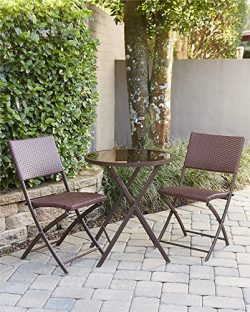 Cosco Outdoor 3 Piece Delray Dining Height Folding Patio Set with Steel Frame Dark Brown and Red ...