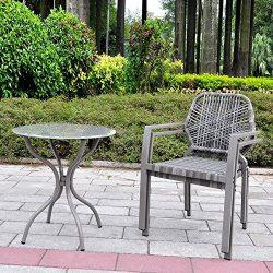 3 Pcs All-Weather Outdoor Bistro Set, Resin Wicker Outdoor Patio Furniture Dining Set, Indoor an ...