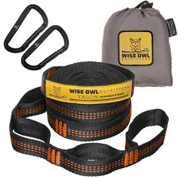 Wise Owl Outfitters Talon Hammock Straps – Combined 20 Ft Long, 38 Loops W/ 2 Carabiners & ...