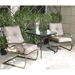 Cloud Mountain Bistro Table Set Outdoor Bistro Set Patio Furniture Set Wrought Iron Bistro Set T ...