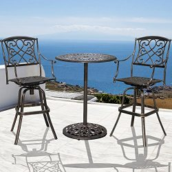 Sundale Outdoor 2 Pcs Counter Height Swivel Bar Stool and Bar Table Set All Weather Patio Furnit ...