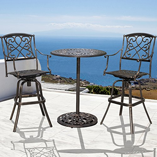 Sundale Outdoor 2 Pcs Counter Height Swivel Bar Stool And