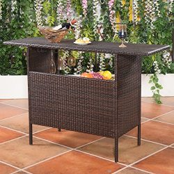 Patio Bar Table Shelves Rattan Wicker Counter Outdoor Garden Furniture Brown