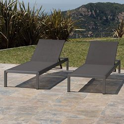 Crested Bay Patio Furniture | Outdoor Grey Aluminum Chaise Lounge with Dark Grey Mesh Seat (Set  ...