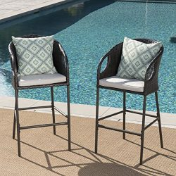 Dunlevy Outdoor Multibrown Wicker Barstools with Light Brown Water Resistant Cushions (Set of 2)