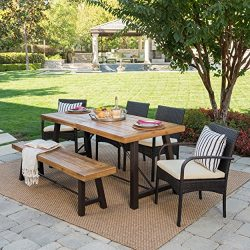 Belham Outdoor 6 Piece Teak Finished Acacia Wood Dining Set with Multibrown Wicker Dining Chairs ...